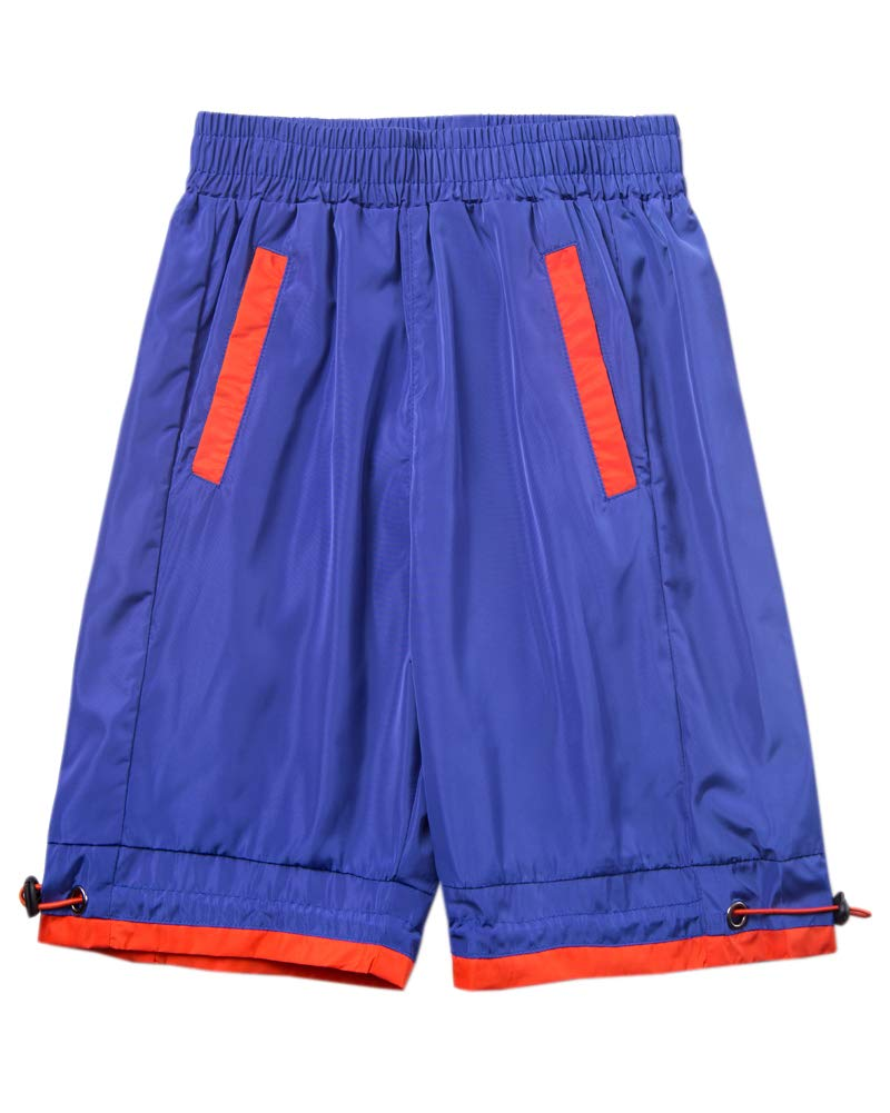 Welity Boys' Girls' Athletic Workout Gym Running Shorts with Pockets, Beach Boardshort for Youth Boys & Girls, Blue, 13-14 Years=Tag 170