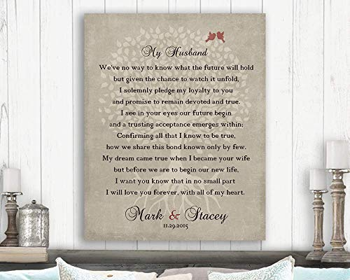 Gift From Bride to Groom, Wedding Day Gift, Gift For Groom, Husband to be Gift, Love Poem, Personalized Custom Art Print #LT-1137 Paper Print ()