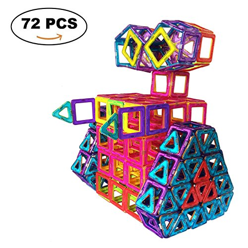 UPC 717630592361, SUPRBIRD Construction Building Blocks Toys,72 Pcs Rainbow Colors Educational Magnetic Tiles Building Block Magnet Stacking Toy Set for Children/Kids/Toddlers with Bonus Storage Bag