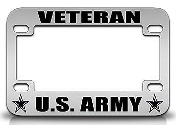 veteran us army army quality metal motorcycle license plate frame chr - Motorcycle License Plate Frame