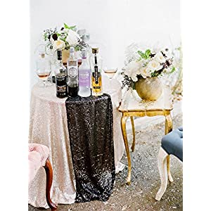 "TRLYC 13""*108"" Elegant Luxury Wedding and Party Sequin Rectangle Table Runner Colors are Available 3"