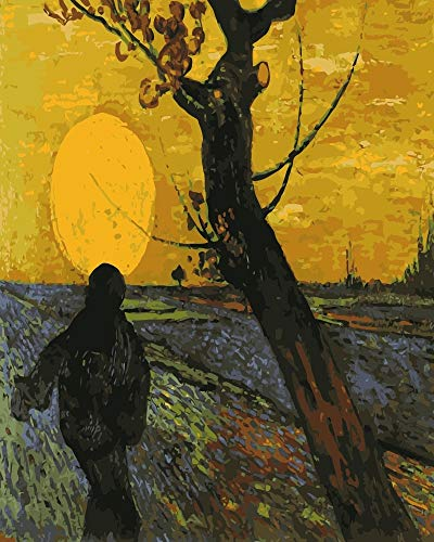 igraphy - -i359 Van Gogh Sower Sunset Landscape DIY Painting by Numbers on Canvas Hand Painted Coloring by Numbers for Home Decor 1 PCs ()