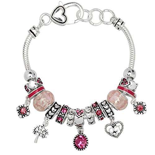 Birthstone Bracelet Multi-Color Charm Beads Silvertone October OB07234-OCT