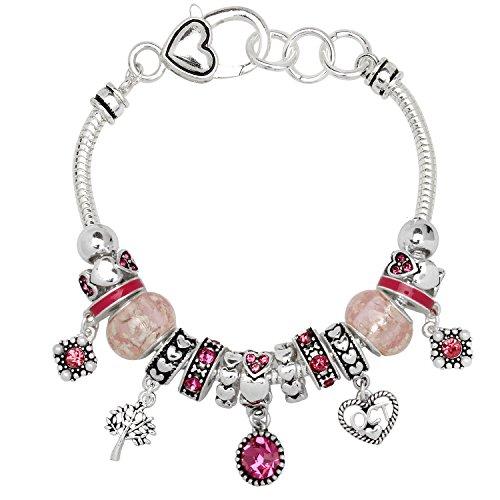 (Birthstone Bracelet Multi-Color Charm Beads Silvertone October OB07234-OCT )
