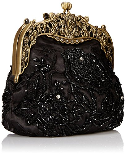 c38842649b1b39 ILISHOP Women's Antique Beaded Party Clutch Vintage Rose Purse Evening  Handbag (Black)