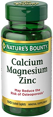(Nature's Bounty Calcium Carbonate Pills with Magnesium and Zinc Mineral Supplement, Supports Bone Strength and Health, 1000mg, 100 Caplets)