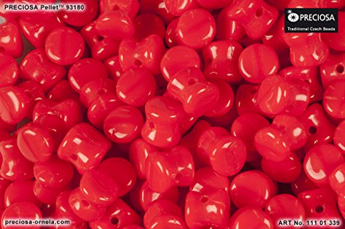 50pcs Pellet Beads 4x6mm Pressed Czech Glass,Red Coral Opaque