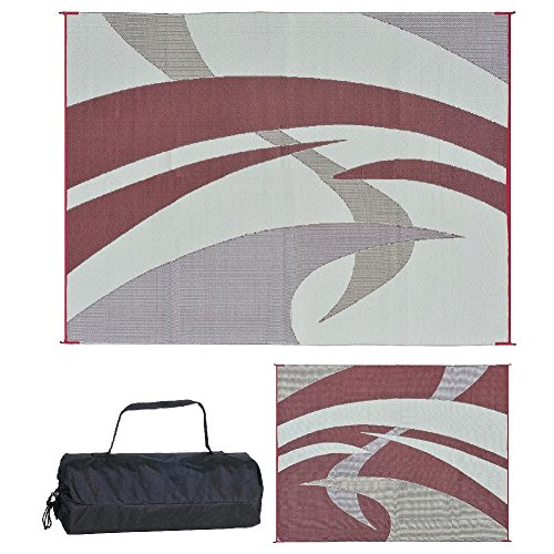 Reversible Mats 159125 Outdoor Patio / RV Camping Mat - Swirl (Burgundy, 9-Feet x 12-Feet by Reversible Mats