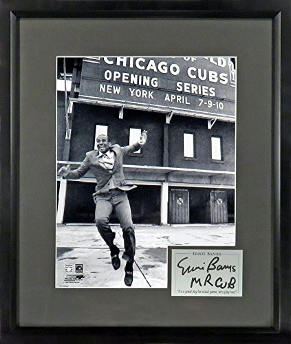 "Chicago Cubs Ernie Banks ""Let's Play Two!"" 11x14 Photograph (SGA Signature Series) Framed"