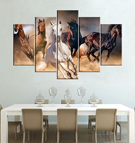 YYL ART 5 Horse Battlefield Ride Paintings of Running Wild Animal Picture Vintage Running in The Desert White Brown Mustang Horse Photo Canvas Print Family Backdrop Decoration For Living Room 5 Panel