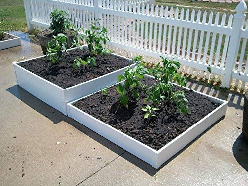 "Handy Bed 4 x 4 Stack-able, White, Vinyl, Raised Garden Bed 5 Actual Dimensions: Outer (47.25"" x 47.25"" x 6.00"") Inner (45.00"" x 45.00"" x 6.00"") Stack-able, Relocatable, Paint-able Simple design makes assembly easy"