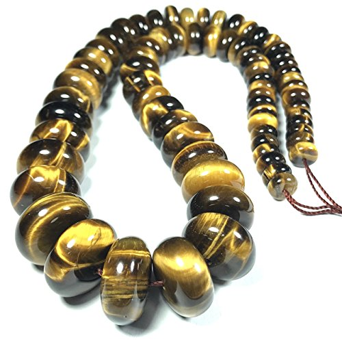 Tiger Rondelle - [ABCgems] Graduated African Tiger Eye (Beautiful Flash) 8-18mm Smooth Rondelle Beads