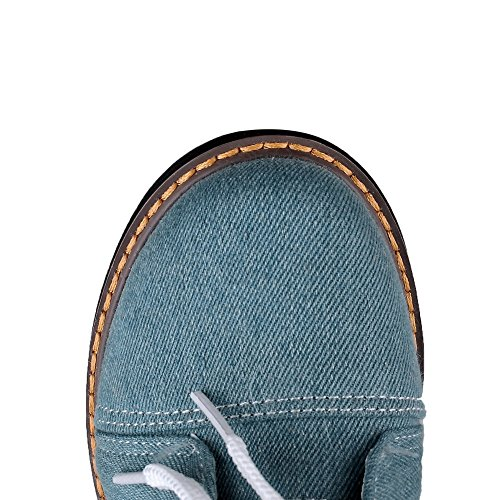 up AgooLar Boots Blue Denim Women's Heels Kitten Closed Lace Solid Toe Round vrvZxnqzwg