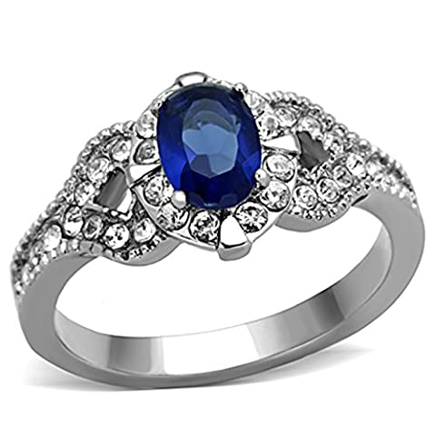 1.45 Ct Blue Montana CZ Vintage Stainless Steel Engagement Ring Women's Size 5 (Vintage Ring Size 5)