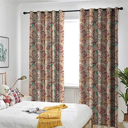 backout Curtains for Bedroom Multicolor Printed Curtains for Living Room and Bedroom Romantic,Ornamental Tulips with Outline Style Composition Spring Blossom Pale Sea Green Ruby Peach -