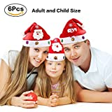 Turelifes 6 Pack Christmas Hat for Adults and Children Different Size Santa and snowman styles for Family Include 4 Pcs Adult Christmas hats and 2 Pcs Child Christmas hats