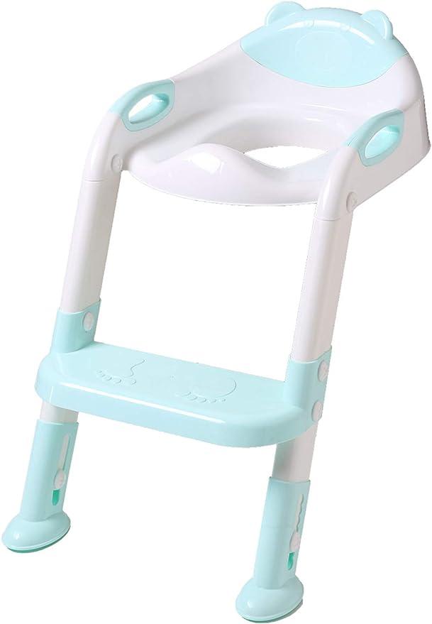 DoubleBlack Orinal Adaptador Asiento Plegable WC con Escalera Niños Reductor Bebe Azul: Amazon.es: Bebé