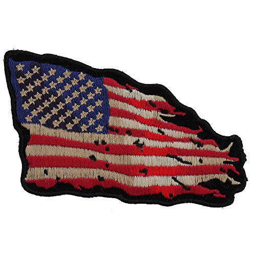 (Tattered US American Flag Patch Small - 4x3 inch. Embroidered Iron on Patch)