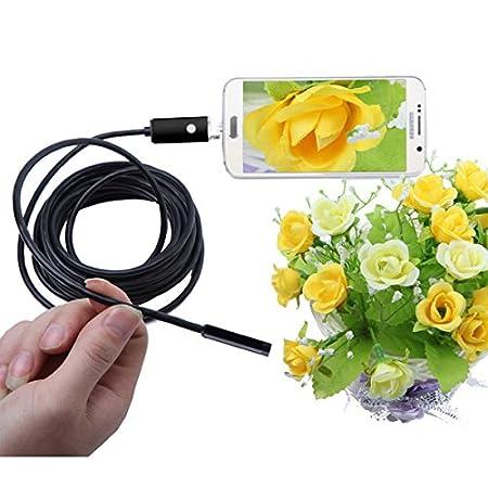 QUARK USB Endoscopio, 7Mm 2 in 1 Impermeabile Boroscopio Ispezione Fotocamera con 6 LED E 3,5 M Snake Cable USB Adapter per Android Telefono Tablet Device,1Meter