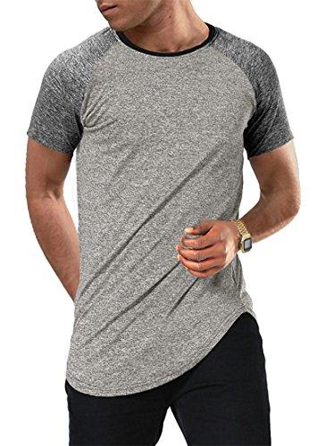 Moomphya Men's Short Sleeve Raglan Jersey Shirt Hipster Hip Hop Basic Swag Curved Hem Baseball T Shirt (Medium, Short ()