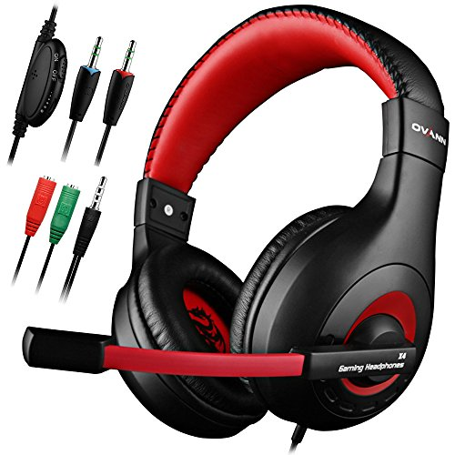 DLAND Gaming Headset, 3.5mm Wired Bass Stereo Noise Isolation Gaming Headphones for Online Gaming with Mic for Laptop Computer, Cellphone, PS4 and so on- Volume Control (Black and Red) by DLAND