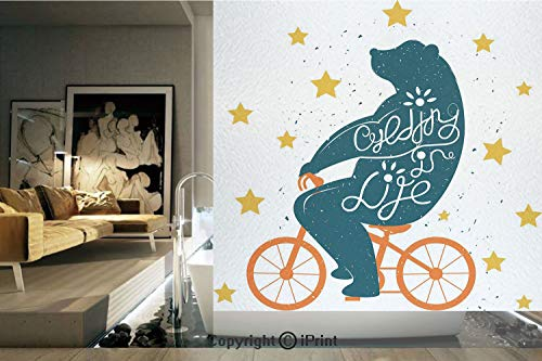 (Decorative Privacy Window Film/Silhouette of A Biking Giant Bear with Distressed Effects and Stars Print/No-Glue Self Static Cling for Home Bedroom Bathroom Kitchen Office Decor Blue Orange Yellow)