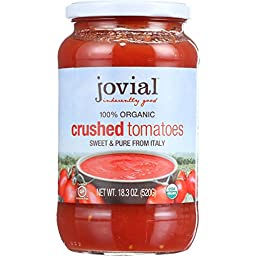 Jovial Tomatoes - Organic - Crushed - 18.3 oz - case of 6 - 100% Organic - Gluten Free - Dairy Free - Yeast Free - Wheat Free-Vegan