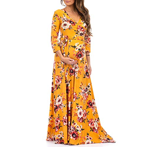 Women's Faux Wrap Maternity Dress with Adjustable Belt - Made in USA Mustard