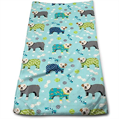 (SMALL - English Bulldog Pajamas Dog Breed Cute Hand Towels Dishcloth Floral Linen Hand Towels Super Soft Extra Absorbent for Bath,Spa and Gym 11.8
