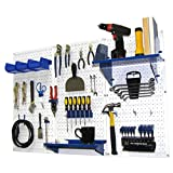 Wall Control 30-WRK-400 WBU Pegboard Organizer 4-Feet Metal Standard Tool Storage Kit with White Tool Board and Blue Accessories