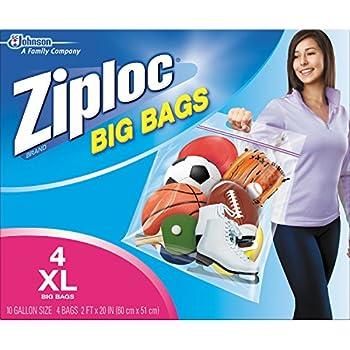 Ziploc Big Bag Double Zipper, X-Large, 4-Count