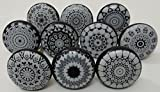 Black and Grey Color Flat Ceramic Knobs Ceramic Door Knobs Kitchen Cabinet Knobs Drawer Pulls Kid's Badroom Knobs by Zoya's Set of 10 Knobs