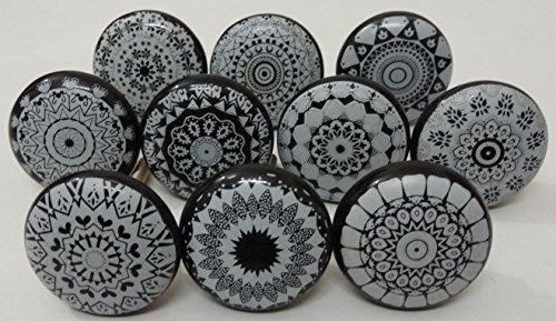 - Black and Grey Color Flat Ceramic Knobs Ceramic Door Knobs Kitchen Cabinet Knobs Drawer Pulls Kid's Badroom Knobs by Zoya's Set of 10 Knobs