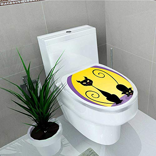 Analisa A. Houk Decal Wall Art Decor Cat Two Black Kitties in Front Full Starry Night Halloween Toilet Decoration W14 x -