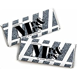 Custom Mr. & Mrs. - Silver - Personalized Wedding Candy Bar Wrappers Party Favors - Set of 24