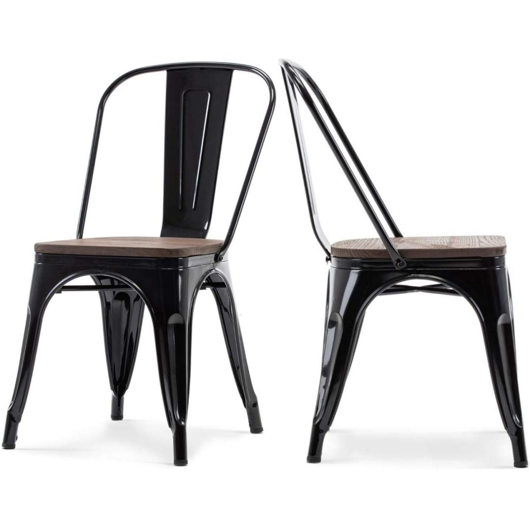Set of 4 Modern Vintage Style Premium Metal Frame Construction Stacking Chairs Vertical Slat Curved Back Design with Wood Seat Indoor-Outdoor Home School Office Furniture Decor - Black/2256