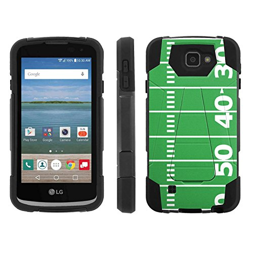 [ArmorXtreme] Case for Cricket / Verizon LG Optimus Zone 3 / Zone3 [Black/Black] [Hybrid Armor KickStand Dual Layer Protection Case] - [FootBall Field]