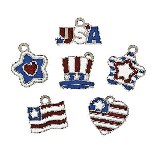 Usa Flag Charm - Patriotic Enamel Charms (36 Pieces)