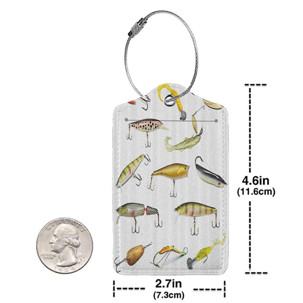 Personalized luggage tag Fishing Decor Fathers Day Idea Fishing Tackle Bait for Spearing Trapping Catching Aquatic Animals Molluscs Design Easy to carry Multi W2.7 x L4.6
