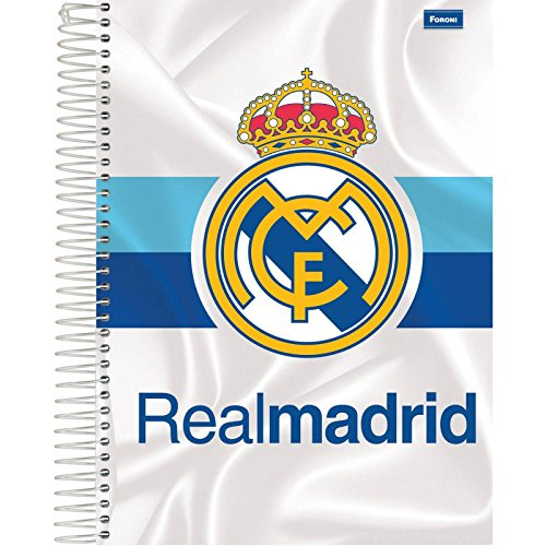 Foroni 6101, Caderno 10 x 1, Capa Dura, 2018 Real Madrid, 200 Folhas, Multicor, Pacote de 04