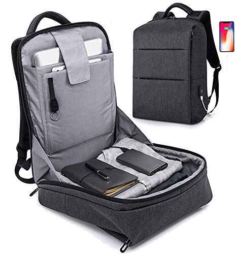 Anti Theft Backpack - 17inch Business Laptop Backpacks with USB Charging Port, Water Resistant College School Computer Backpack for Men Fits 15.6 Inch Laptop Notebook