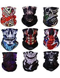 Yerwal 9pcs Windproof Seamless Skull Face Mask for Riding Cyclin Motorcycle Multifunctional Headwear Tube Mask Bandana Magic Wicking Headbands Outdoor UV Dustproof Face Mask (#1 Skull)