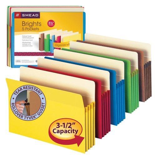Tab Letter Assorted Four (4 X Smead File Pocket, Straight-Cut Tab, 3-1/2