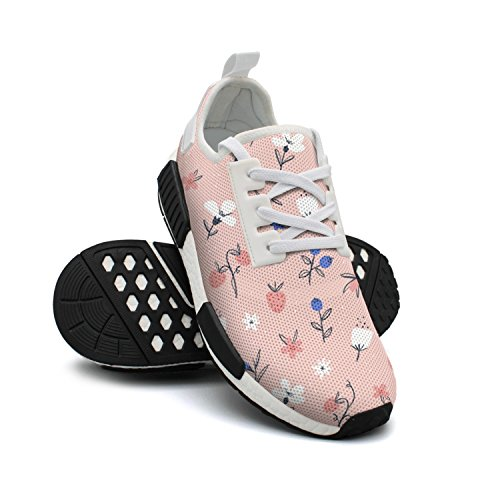 Lightweight Pink Designer Sneakers Womens Walking On Flowers Berries FAAERD and Shoes Mesh Fashion Abstract Breathable Shoes 5vwx4qn8Ra