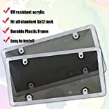 Zone Tech Clear Smoked Gray License Plate Shield Combo - 2-Pack Premium Quality License Plate Clear Smoked Gray Bubble Shield and Chrome Frame Bracket
