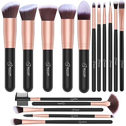 BESTOPE Makeup Brushes 16 PCs Makeup Brush Set Premium Synthetic Foundation Brush Blending Face Powder Blush Concealers Eye Shadows Make Up Brushes Kit (Rose Golden) (Best Brush Set For Eye Makeup)