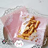 Saasiiyo 100 pcs/lot Romantic Pink Lace Biscuit Packaging Bag Clear Cookie Packing Plastic Candy Bags For Wedding 7cmx7cm