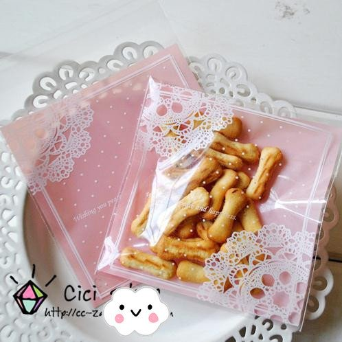 Saasiiyo 100 pcs/lot Romantic Pink Lace Biscuit Packaging Bag Clear Cookie Packing Plastic Candy Bags For Wedding (Show Me Pictures Of Monster High)