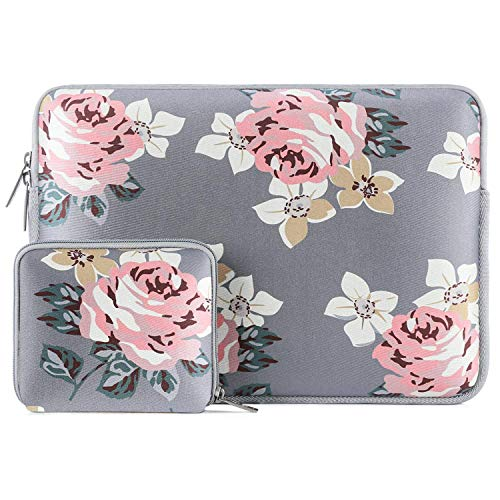 MOSISO Water Repellent Neoprene Laptop Sleeve Bag Cover Compatible 15-15.6 Inch MacBook Pro, Notebook Computer with Small Case, Gray Rose