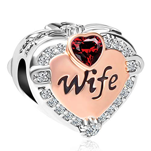 (LovelyCharms Wife Love Heart Charm with Synthetic January Birthstone Crystal Bead for European)